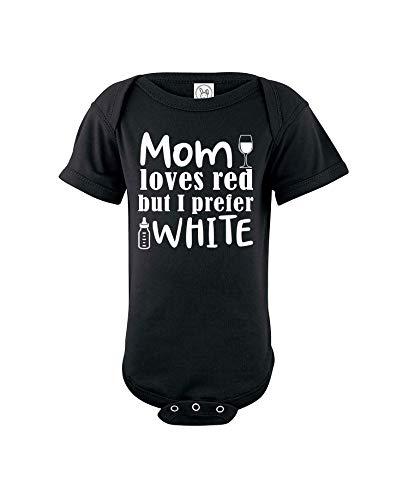 Mamá ama el vino tinto pero yo prefiero blanco – body unisex de algodón para bebé – mameluco de una pieza para bebé - negro - 12 meses