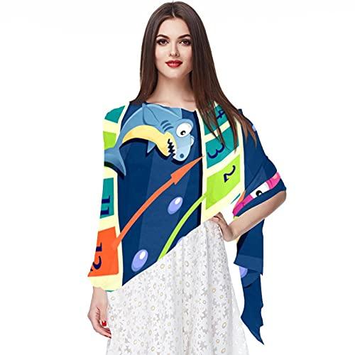 WJJSXKA Scarfs for Women Lightweight Print Floral Pattern Scarf Shawl Fashion Scarves Sunscreen Shawls, Sea Animals Mermaid Board Game