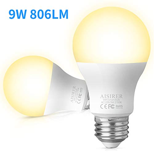 AISIRER Smart Light Bulb WiFi LED Bulbs 9W 806LM Compatible with Amazon Alexa Echo Google Home Assistant and IFTTT E26 Dimmable Warm Light 2700K No Hub Required (2 Pack)