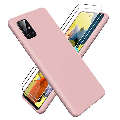 Oududianzi - Funda para Samsung Galaxy A51 5G + [2 Pack] Protector Pantalla, Carcasa de Silicona Líquida Gel Ultra Suave Funda con tapete de Microfibra Anti-Rasguño - Rosado