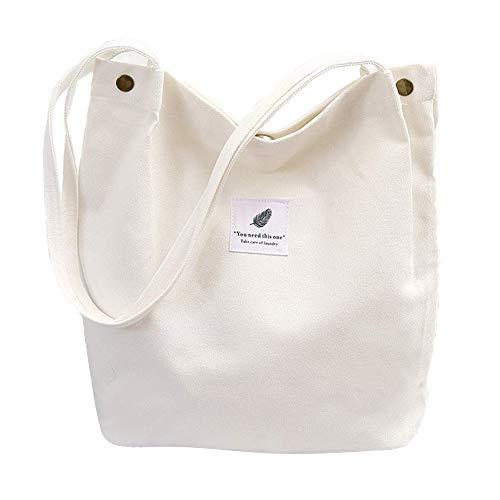 Yidarton Tote Bag Uni-Sacs de Courses Idéal pour Achats École et Cadeau Tote Bag Maîtresse (Blanc)