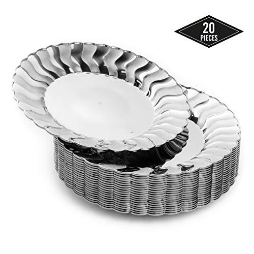 20 Kleine Plastik Einwegteller, Elegantes Silberfinish, 19cm| Stabil & Wiederverwendbar Partyteller aus Kunststoff| Silber Einweggeschirr| Dessertteller, Salatteller für Hochzeit Geburtstage Partys.