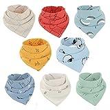 8 Stück Baby Lätzchen Baumwolle Bandana-Lätzchen Dreieckstücher Weich und saugfähig Speicheltuch für Babys, Kleinkinder und Neugeborene Jungen