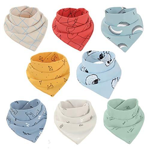 8 Bebé Baberos Tipo Bandana Algodón Baberos Triangulares Suave y Absorbente Toalla De Saliva Para Bebés, Niños Pequeños Niños