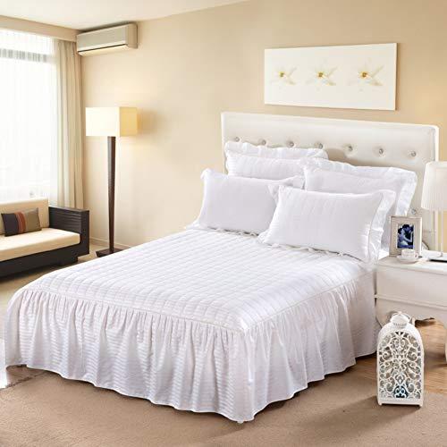 Bett Rock Vervierfachen Falten, Bett Volant Hotel qualität Tagesdecke Baumwolle 3-seitige Abdeckung-Weiß 180x200cm/71x79inch