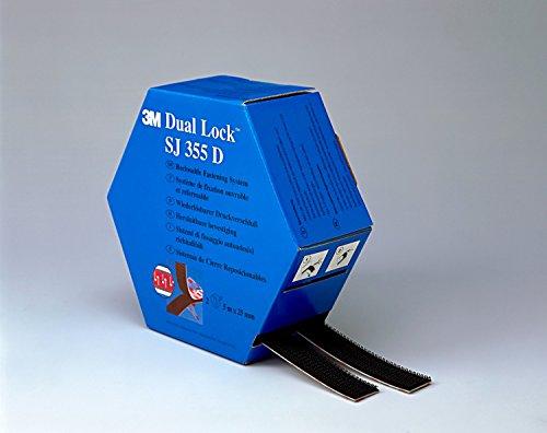 3M Dual Lock SJ355D, Sistemas de cierre reposicionable - óptima adhesión a metales, vidrio, acrílicos, policarbonato y ABS - 2 x 25mm x 5m, negro, espesor: 5.7mm (1 unidad)
