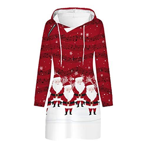 XIAOLUOA Robe à Capuche Femme 2020 Nouvelles Noel Sweat à Capuche Manches Longues Hoodie Imprimé Mode Pullover Robe Sweatshirt Christmas Casual Tunique Veste Pas Cher