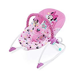 Minnie Mouse Stars and Smiles Baby Girl Infant to Toddler Activity and Entertainment Rocker with Removable Toy Bar in Pink