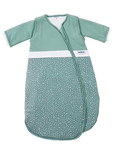 Gesslein 772211 Bubou Babyschlafsack mit abnehmbaren Ärmeln: Temperaturregulierender Ganzjahreschlafsack für Baby/Kinder Größe 90 cm, Punkte petrol, türkis, 480 g