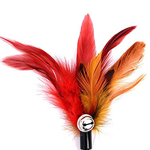 Freedi 4Pcs Cat Toys Artificial Feather Teaser Wand Toy with Bell Pet Funny Exerciser Interactive Play Feather Toys