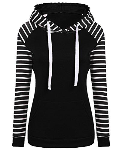 YuanDian Femme Automne Et Hiver Casual Rayure Manches Longues Hooded Sweatshirt Sweat A Capuche Chaud Long Pull à Capuche Manteau Noir S