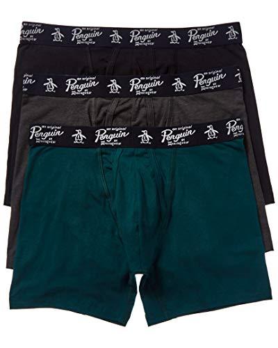 Original Penguin Cueca boxer masculina de algodão elástico, pacote com várias, Preto/Cinza escuro/Botânico, S