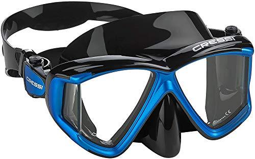 Cressi Liberty Quattro Mask - Maschera per Immersioni e Snorkeling con Vista Panoramica 4 Lenti in Vetro Temperato, Nero/Zaffiro