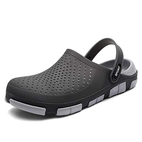 Watermelon Zuecos Sandalias para Hombres Zapatos de Agua para Exteriores Zapatillas Transpirables Antideslizantes Ligero y Redondo Cabeza Zapatos Impermeables (Color : Negro, tamaño : 44 EU)