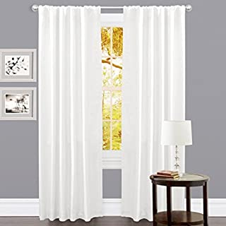 Set of 2 , 100% Slub Cotton Duck Curtain White, Cotton Duck Reverse Tab Top Window Panels - 50x96 inch, Offered By Linen Clubs