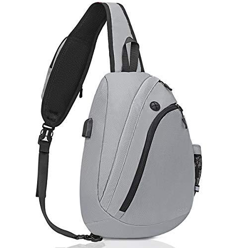 Mosiso sling rugzak, borsttas met USB-oplaadpoort, crossbody hiking daypack multifunctionele lichte touw schouder fanny satchel reis outdoor sporttas voor vrouwen mannen meisjes jongens