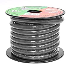 4-Gauge Clear Black Ground Wire - 25 Ft. 4 AWG Gauge, Economy Oxygen-Free Copper Cable Wire w/ Flexible & Bendable Jacket, Translucent Matte Insulator, Chemical & Heat-Resistant - Pyramid RPB425