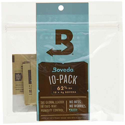 Boveda for Herbal Storage   62% RH Humidity Control Pack   Size Small for Use with Up to 1/2 Ounce (15 Grams)   10-Count Resealable Bag