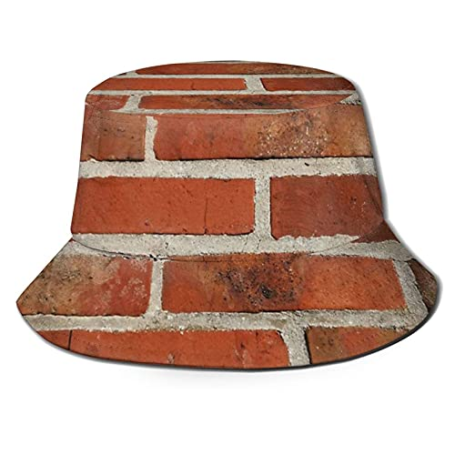 jhgfd7523 Viejo rojo Clinker ladrillos regalo de pared Unisex cubo sombrero pescador sombrero sol sombrero plegable 3D impresión al aire...