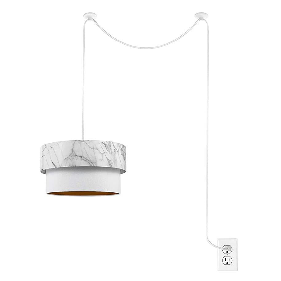 Catalina Lighting 22032-000 Contemporary Faux Marble Swag Pendant, LED Bulb Included, 8