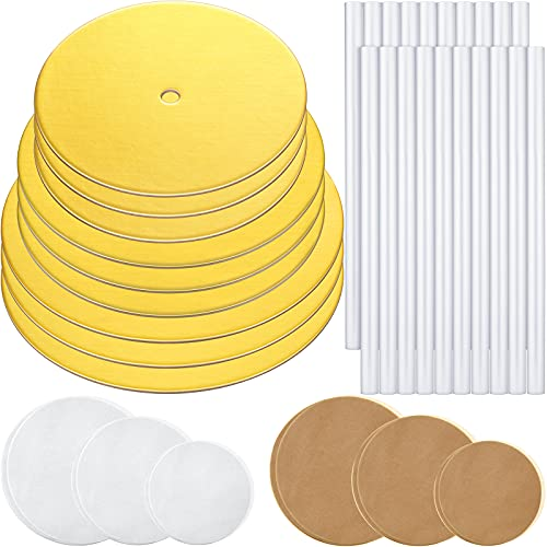 89 Pieces Cake Tier Stacking Kit Sturdy Round Cake Boards with Parchment Paper Round and Plastic Cake Dowel Rods for Tiered Cakes for Wedding Birthday Party (Golden Boards, 6 Inch, 8 Inch, 10 Inch)