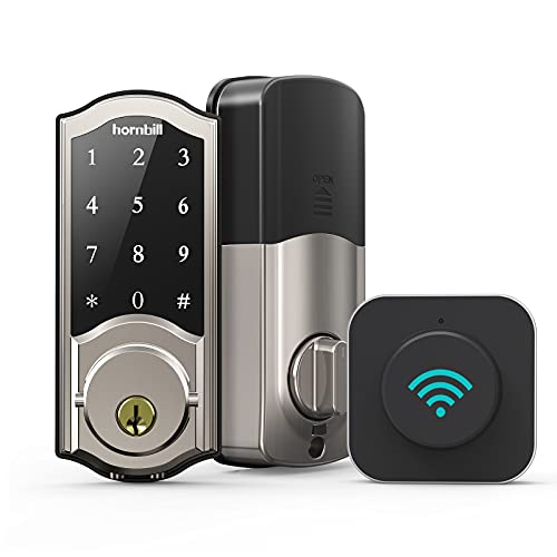 Smart Deadbolt Locks with Keypad, hornbill Keyless Entry Digital Front Door Lock with Wi-Fi Bridge, Bluetooth Electronic Auto Lock Work with Alexa, App Control for Homes, Offices and Apartments