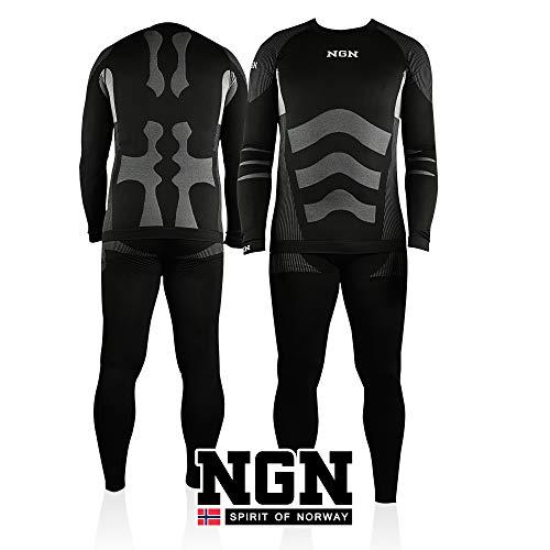 NGN skiondergoed voor heren uit Noorwegen, lange thermische onderkleding van katoen, functioneel ondergoed, ademend zwart, mooie skikleding, baselayer set voor mannen, sportbroek en shirt