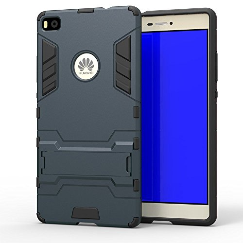 Huawei P8 Hülle, Huawei P8 Hülle Case,MHHQ Hybrid 2in1 TPU+PC Schutzhülle Rugged Armor Case Cover Dual Layer Bumper Backcover mit Ständer für Huawei P8 -Black Plus Gray - 2