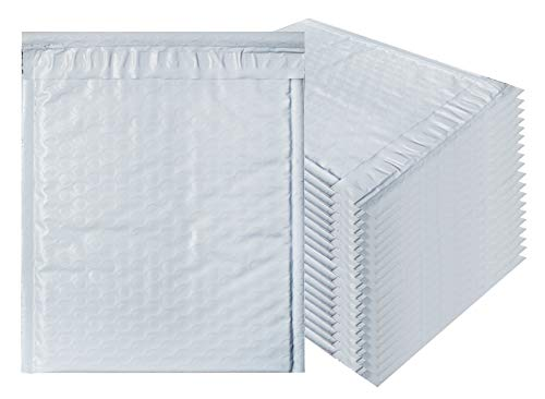 White Poly Bubble mailers 6x9 Padded envelopes 6 x 9 by Amiff. Pack of 10 Poly Cushion envelopes. Exterior Size 7x9 (7 x 9). Peel and Seal. Mailing, Shipping, Packing, Packaging.