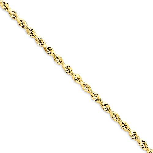 Diamond2Deal - Tobillera de oro amarillo de 14 quilates, 3 mm, cadena cuádruple de 9 pulgadas para hombres y mujeres