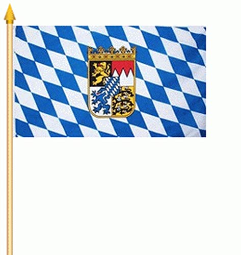 2 x Fahne Stockflagge Bayern mit Wappen Löwen Fanfahne 30 x 45 cm Flagge Stockfahne Flaggen Fahnen
