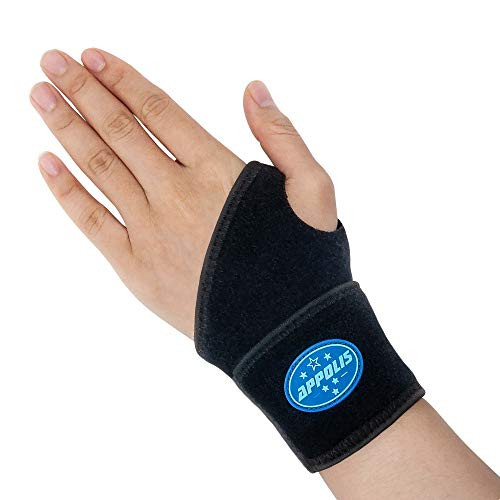 Adjustable Wrist Support,Appolis Carpal Tunnel Wrist Brace,Wrist Compression Wrap for Arthritis and Tendinitis Pain Relief,Working Out,Fit Both Left/Right Hand,Single,One Size(Black)