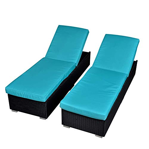 Green4ever 2 Pieces Outdoor Patio Chaise Lounge Chair, Set of 2 Wicker Chaise Lounge Chair Additional Lounge Chair Patio Furniture, Blue Cushion