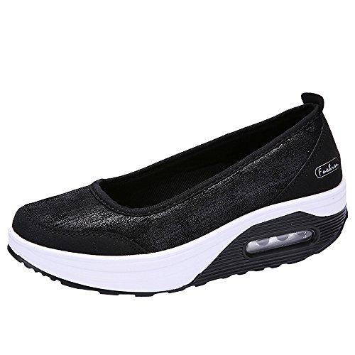 SuperSU Damen Atmungsaktiv Netz Keilabsatz Schuhe Leicht Laufschuhe Fitness Laufen Freizeitschuhe Mode Frauen Luftpolster Plateauschuhe schütteln Schuhe Slip Sport Turnschuhe Pumps Segelschuhe