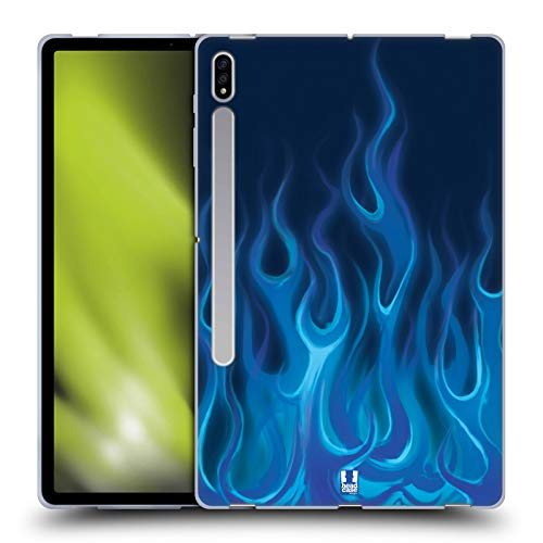 Head Case Designs Blue Blaze Hot Rod Flames Soft Gel Case Compatible With Galaxy Tab S7+ / Tab S7 Plus 5G