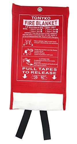 Tonyko Fiberglass Fire Blanket for Emergency Surival, Flame Retardant Protection and Heat Insulation with Various Sizes (39.3×39.3 inches)
