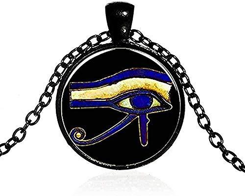 NC110 Männer S Halskette Alter Gott Horus Auge Halskette Drittes Auge Mandala Indischer Schmuck Retro Glas Cabochon Po Handgemachte Amulett Halskette Frauen Anhänger Halskette Geschenk für Frauen