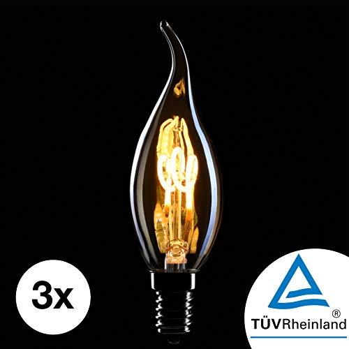 CROWN LED 3 x Edison Kerzen Glühbirne E14 Fassung, Dimmbar, 2W, Warmweiß, 230V, EL08, Antike Filament Beleuchtung im Retro Vintage Look