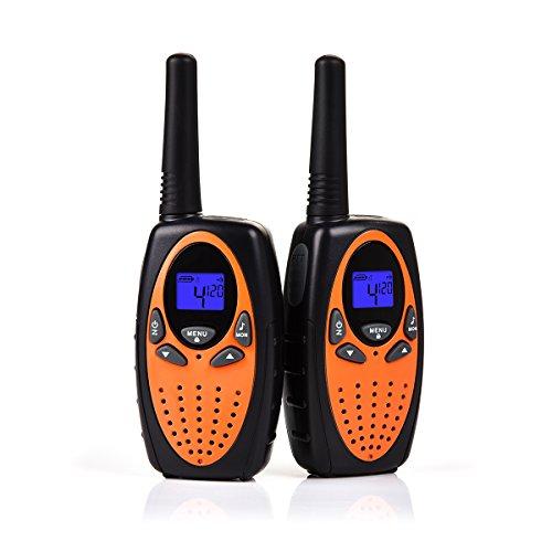 Upgrow 2X Walkie Talkies Kinder Funkgeräte Set 8 Kanäle 2-Wege Radio Walki Talki Funkhandy Interphone mit LCD Display, Kinder Speilzeug und Geschenk (Orange)
