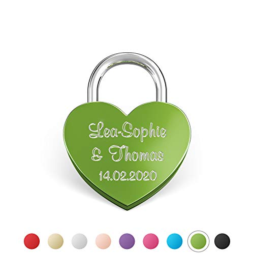 LIEBESSCHLOSS-FACTORY Kleines mini Herz-Schloss Grün mit Gravur und Schlüssel, gratis Geschenkbox uvm. Jetzt graviertes Liebes-Schloss in Herzform gestalten!