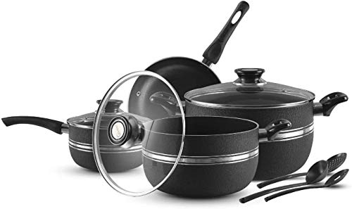 Cookware Set - (10 PC) Nonstick Pots and Pans Sets | Kitchen Cooking Set with 1 Saucepan, 1 Frying Pan, 3 Cooking Utensils Ceramic Coating Cooking Pots | Induction Pan Set with Glass Lids