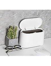 AYADA Tafelafvalemmer met deksel, mini afvalbak, tafel afvalemmer, badkamer cosmetica-emmer, tafelafvalbak voor keuken, badkamer, bureau, toilet, auto, bed, geurdicht, klein plastic, 1,5 l (wit)