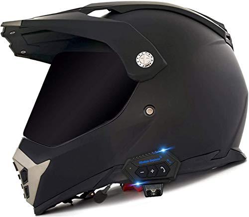 Feeyond Casco de moto con Bluetooth, casco integral modular con doble visera parasol, casco certificado DOT, sistema de comunicación intercomunicador integrado MP3 FM Broadcast integrado, talla X,S