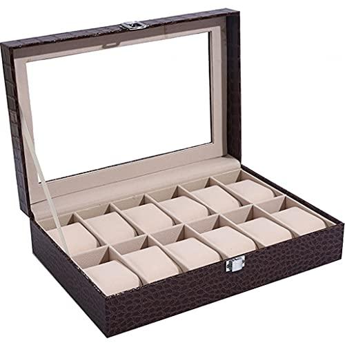 YHRJ Organizador De Relojes Caja de Almacenamiento de Reloj de Cuero PU de Moda, Cajas de exhibición de Joyas de Marcos múltiples en centros comerciales (Color : Black, Size : 30 * 20 * 8cm)