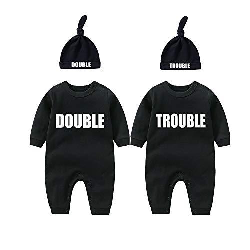 culbutomind Baby Zwillinge Baby Bodys Doppel Ärger süßes Outfit mit Hut Baby Pyjamas Zwillinge Geschenk(Schwarz 3M)