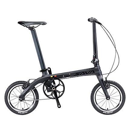 SAVADECK 14 '' Bicicleta Plegable Marco de Fibra de Carbono Fixed Gear Sola Velocidad Fixie Urban Track Bike Mini Ciudad Bicicleta Plegable con Luces