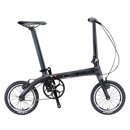 """SAVADECK 14"""" Bicicletta Pieghevole Telaio in Fibra di Carbonio a Scatto Fisso Bicicletta Fissa a Scatto Singolo Bicicletta Pieghevole in Città Mini Bicicletta Pieghevole con fari"""