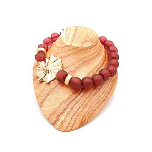 Collares De Bisutería para Mujeres - Estilo Gargantilla De Bolas o Perlas con Preciosa Flor - Calidad Española (Granate)