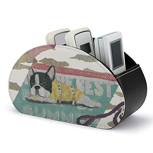 Scatola portaoggetti per telecomando con bulldog francese, con 5 scomparti per telecomandi, pennelli da trucco, cancelleria e gadget