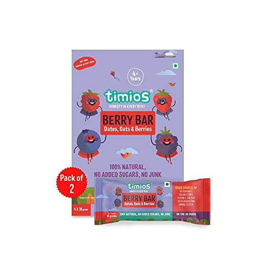 Timios Berry Bar Healthy Snack Natural Energy Food Product Ready to Eat for Toddlers - 4+ Years (Pack of 8)